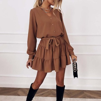 Autumn Long Sleeve Ruffles Dress For Women Spring V Neck Casual Loose Mini Dress Button Female Solid A Line Office Vestidos mozuleva minimalism loose solid women dress 2020 summer casual vestidos puff sleeve o neck single breasted female mini dress
