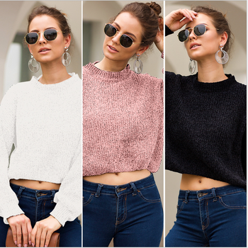 Women's sweater 2020 new spring and autumn European and American women's long sleeve short sweater loose and lazy 2019 autumn new european and american women s personality stitching ruffled long sleeved round neck slim bag hip dress