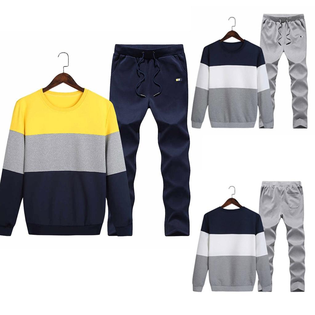 Hawcoar Men's Autumn And Winter New Fashion Casual Wild Stitching Sweater Suit Wholesale Free Ship Moletom Feminino Inverno Z4