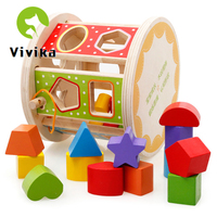 Baby Wooden Multifunctional Shape 3D Geometric Shapes Matching Puzzle Baby Early Learning Educational Toy