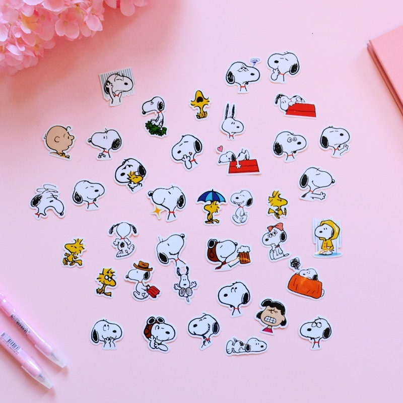 SIXONE 38 Pc Kawaii Cartoon Snoopy Decoration Sticker Korean Student Hand Account Photo Seal Sticker Notebook Sticker Stationery