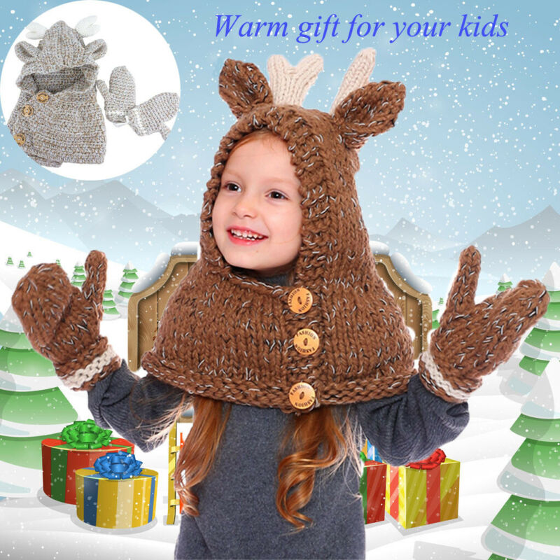 Cute Kids Boys Girls Animals Elk Hat Scarf Gloves Set Autumn Winter Lovely Kids Button Warm Beanie Knitted Caps