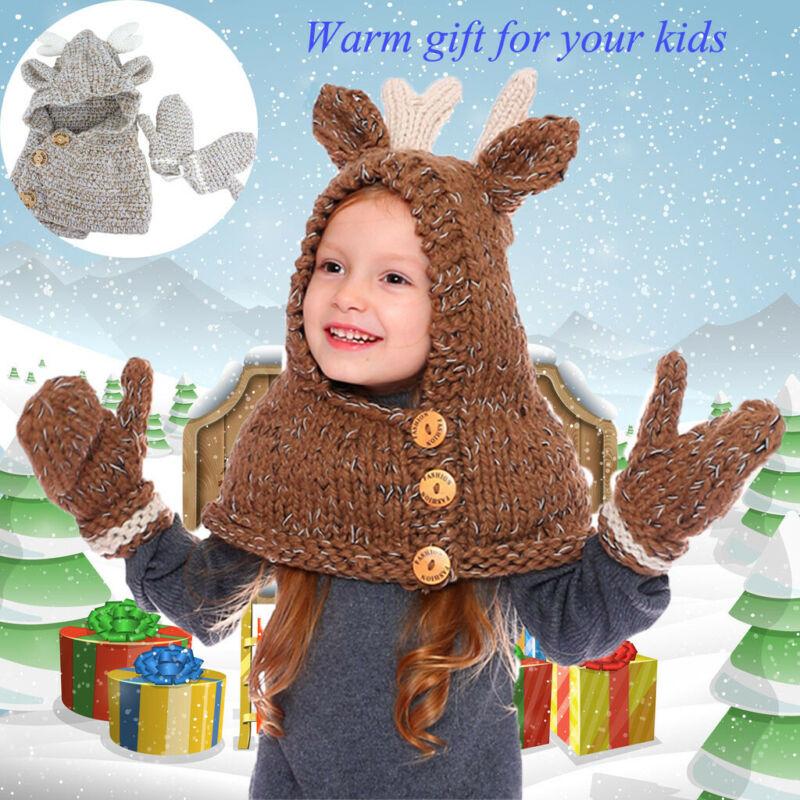 Cute Kids Boys Girls Animals Elk Hat Scarf Gloves Set Autumn Winter Lovely Kids Button Warm Beanie Knitted Caps
