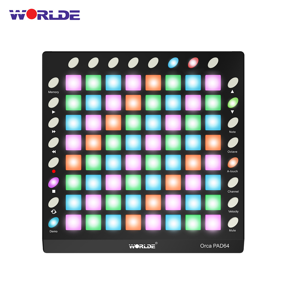 WORLDE ORCA PAD64-A Pro Portable USB MIDI Drum Pad Controller 64 RGB Backlit Pads 24 Buttons Built-in 128MB Sound Module
