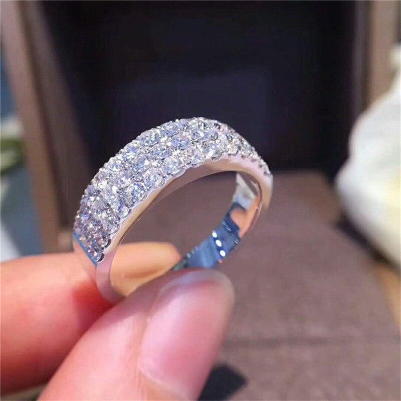 Choucong éternité promesse anneau pavé AAAAA cz pierre 925 en argent Sterling fiançailles bague de mariage anneaux pour femmes hommes bijoux de fête - 6