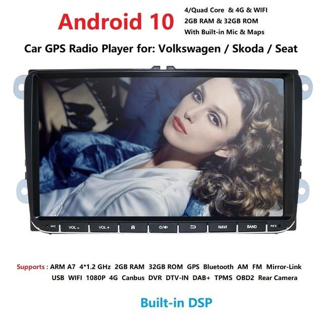 Ossuret 9 inch Android 10 Double 2Din Car radio GPS Auto radio 2 Din USB For Volkswagen/Passat/GOLF/Skoda/Seat Wifi bluetooth
