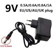 DC5.5mm 9V 0.5A 0.6A 0.8A 1A AC/DC адаптер 500mA 600mA 800mA 1000mA адаптер питания Универсальный EU US UK AU переходник