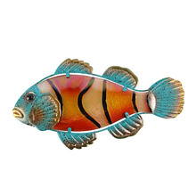 Metal Glass Fish Wall Artwork for Home and Garden Decoration Animal for Outdoor Garden Statues and Sculptures Miniatures