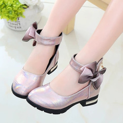 Pink Childrens Girls Leather Shoes Kids High Heeled Girls Princess Shoes For Party Wedding Big Girls Dress Shoes chaussure fille