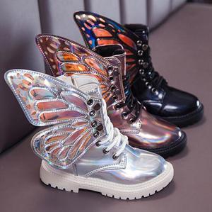 Водонепроницаемые ботинки-мартинсы из искусственной кожи с крыльями для детей, брендовые зимние ботинки для девочек и мальчиков, модные кр...
