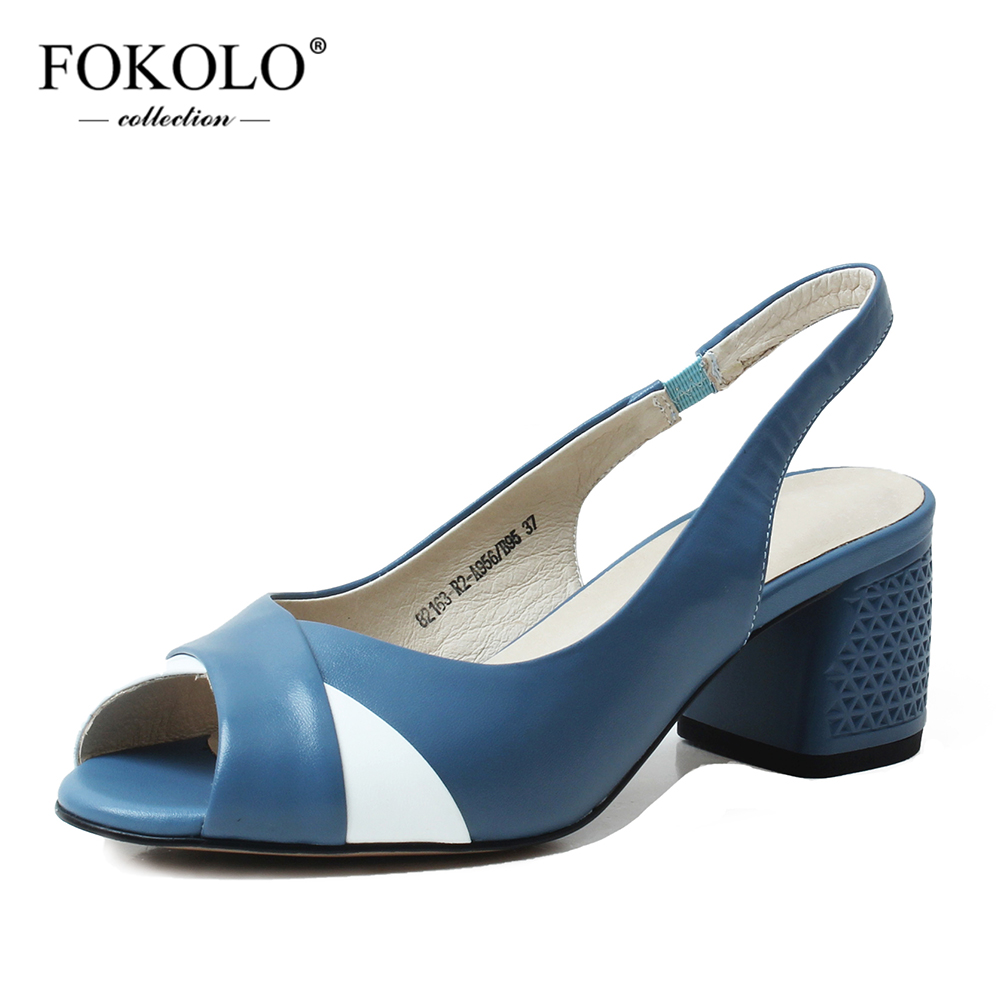 FOKOLO New Sandals Women Hit Color Sheepskin Open Toe Shoes Elastic Band Mid Heel Genuine Leather Lady Summer Shoes Handmade L5