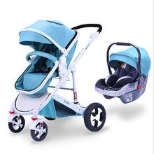 IIILOVEBABY 2 IN 1 Baby Stroller 3 in 1 Folding Hot Mum Four Wheels Baby Stroller Basket Baby Carriage Lightweight Folding Carry