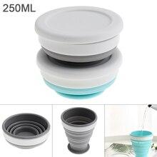 200ML 2 Colors Portable Circular Scalable Silicone Folding Cup  for - 50 Centigrade ~ 200