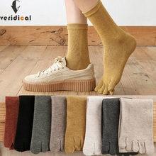 5 pares/lote algodão cinco dedos meias curtas para mulher menina sólido respirável macio elástico harajuku meias com dedos dos pés venda quente