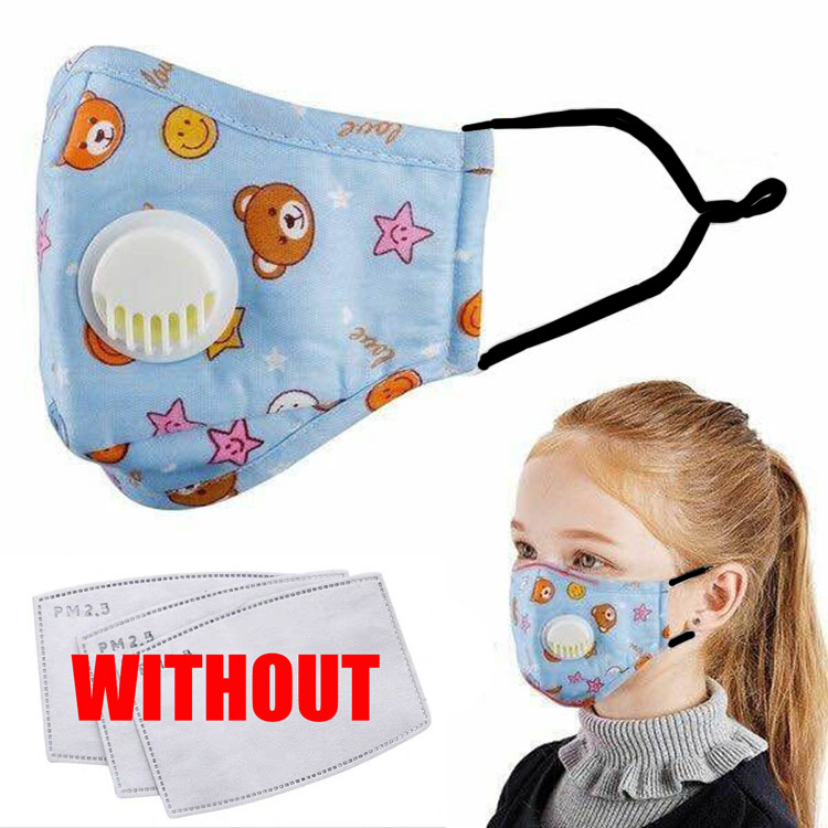 5pcs Anti PM2.5 Kids N95 Mask Print Air Aalve Anti Dust Pollution Face Breathable Mask Activated Carbon Filter Child Mask