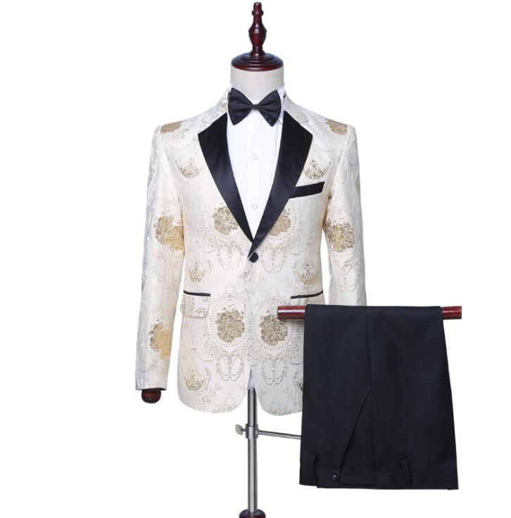 Blazer Men Groom Suit Set With Pants Mens Wedding Suits Fashion Costume Singer Star Style Dance Stage Clothing Formal Dress 998