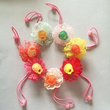 1 Pcs/lot Sweet Candy Color Lace Flowers kids Girls Hair Elastic Ropes Bands Kids Accessories