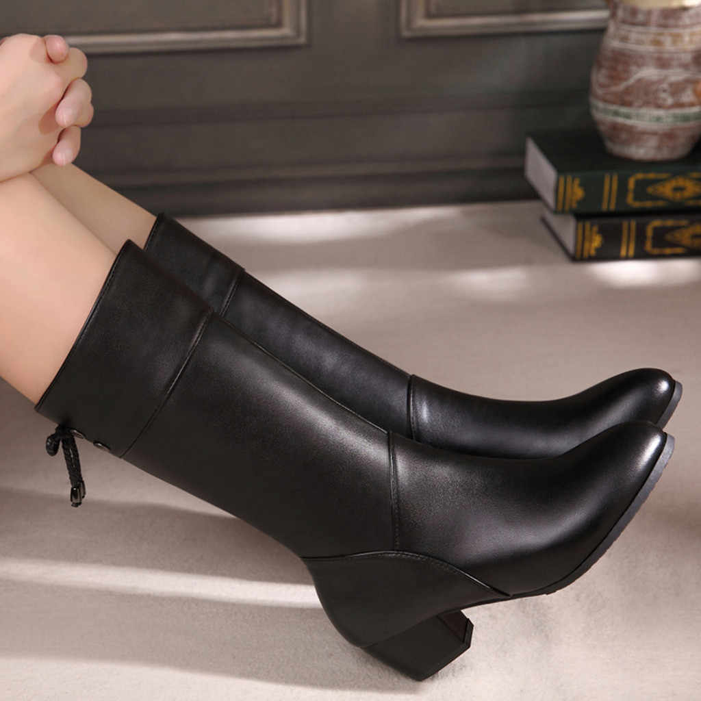 Moda kış kadın ayakkabı saf renk yuvarlak ayak düz renk fermuar çizmeler kare topuklu Vintage kadın botları şişeler Femme temel
