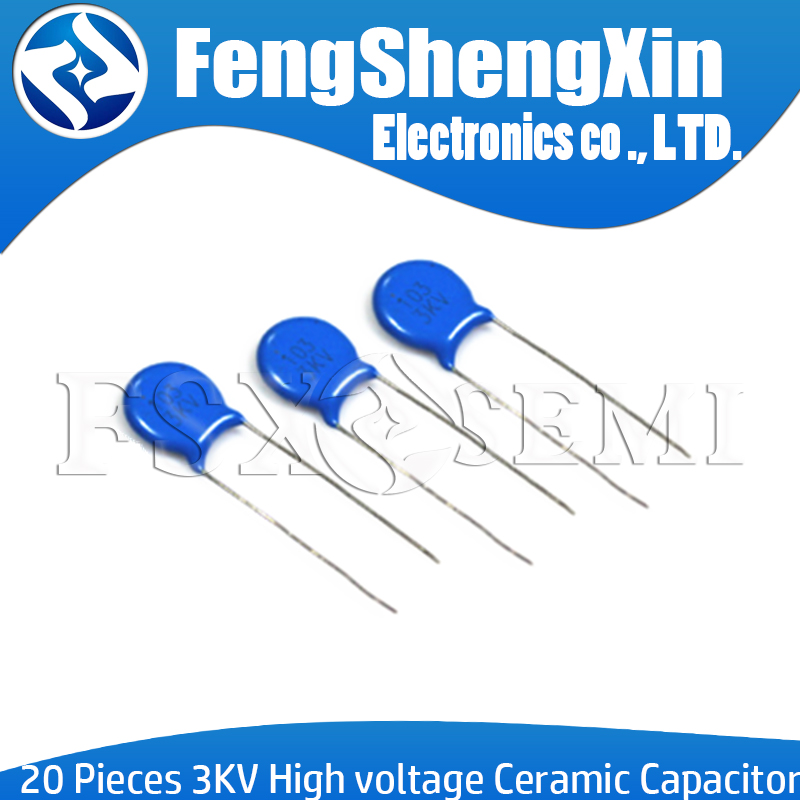 20pcs High Voltage Ceramic Capacitor 3KV 5PF 10PF 15PF 20PF 22PF 27PF 30PF 47PF 56PF 100PF 220PF 1NF 2.2NF 3.3NF 4.7NF 10NF 22NF