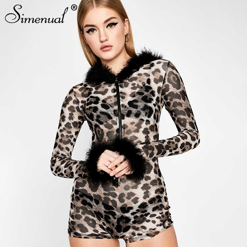 Simenual Mesh Leopard Sexy Hot Rompers Womens Jumpsuits Plush Patchwork Zipper Hooded Party Playsuits Transparent Slim Clubwear