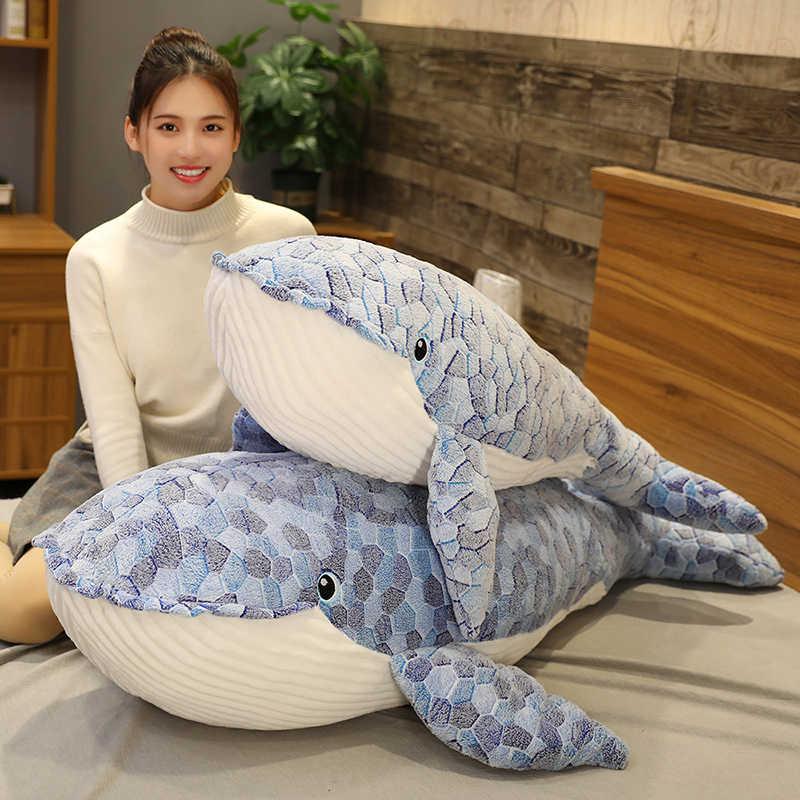 Wypchane zwierzęta morskie duży niebieski wieloryb miękka zabawka śliczny miękki wieloryb rekin pluszowa lalka wieloryb pluszowa poduszka zabawka dla dzieci prezent urodzinowy dla dzieci