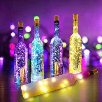 1M 2M Wine Bottle Lights With Cork LED String Light Copper Wire Fairy Garland Lights Christmas Holiday Party Wedding Decoration 1