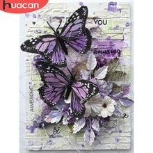 HUACAN 5d diamentowe malowanie nowe przyloty haft diamentowy z motywem zwierzęcym ściegiem krzyżykowym motyl dżetów pełna mozaika do dekoracji domu