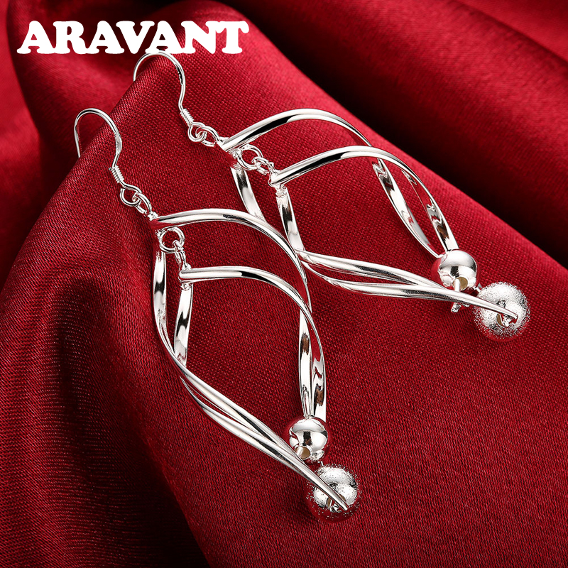 2020 New Arrival 925 Silver Women High Quality Twist Sanding Ball Hanging Long Drop Earring Jewelry