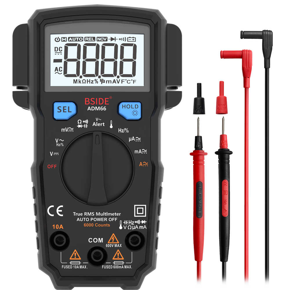 مقياس رقمي صغير متعدد BSIDE ADM66 62 نطاق تلقائي صحيح تيار مستمر/تيار متردد الجهد الحالي السعة اختبار الصمام الثنائي