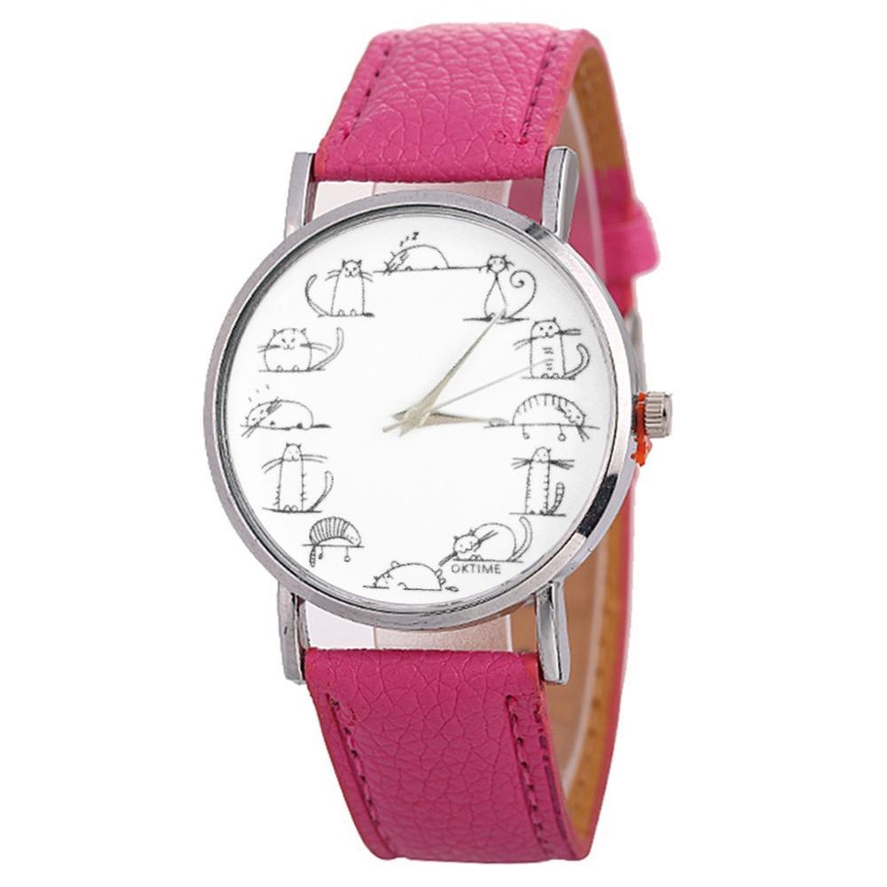 Beautiful Fashion Creative Cartoon Watch Ladies Cute Cat Watch For Gift female watches women woman watch casual dress clock