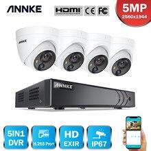 Annke 8ch 5mp lite sistema de vigilância por vídeo 5in1 h.265 + dvr com 4x 5mp pir detecção dome câmeras de segurança à prova dwaterproof água cctv kit