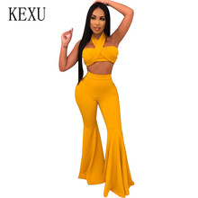 KEXU Off Shoulder Sexy Two Pieces Sets Tie-up Sleeveless Jumpsuits Elegant Zippered Lotus Leaf Trousers Summer Bodycon Playsuits