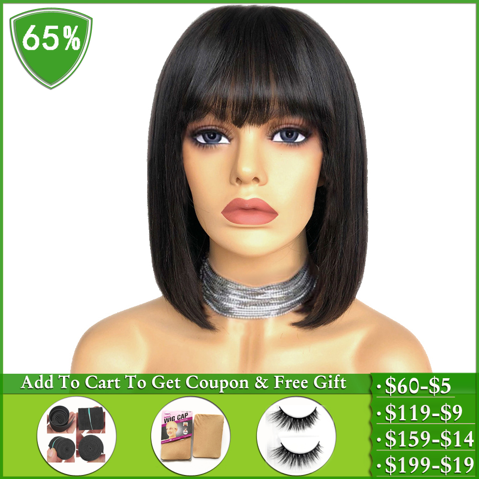 Peruvian Straight Human Hair Wigs  With Bangs Pixie Cut Bob Wig Long And Short Human Hair Wigs For Women Machine Made Non-Remy