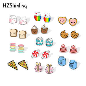 Resin Earrings Silver Sweet Cute Cake Painting Epoxy Milk-Candy Dessert-M New