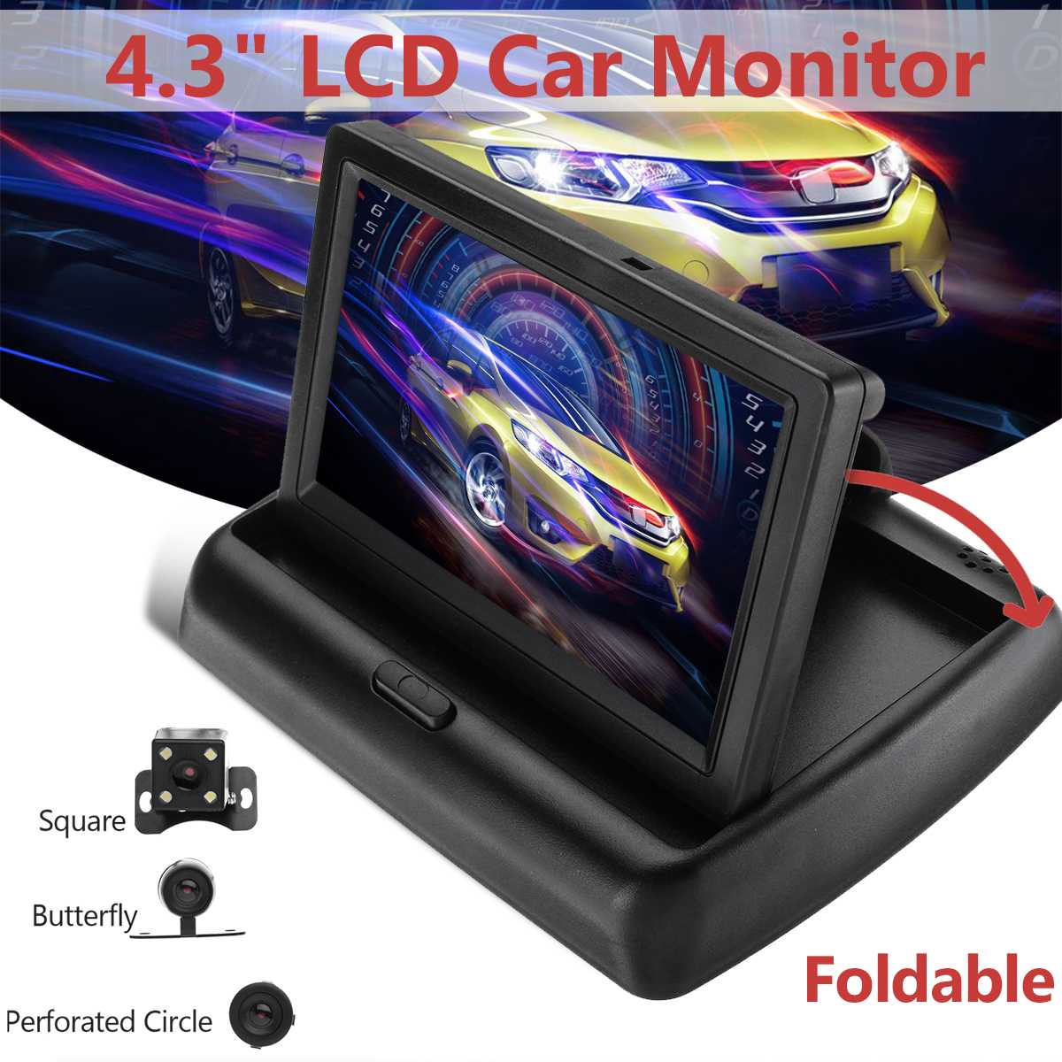 <font><b>4.3</b></font> <font><b>Inch</b></font> <font><b>TFT</b></font> LCD Car Monitor Foldable Monitor Display Reverse Camera Parking System for Car Rearview Monitors image