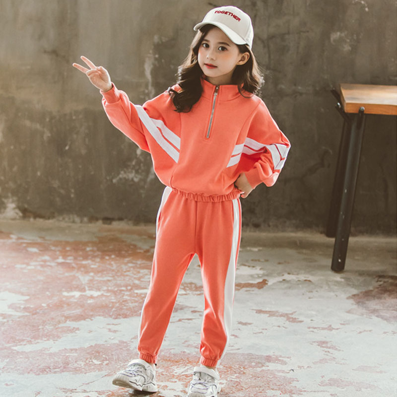 Girl Clothes Jacket Stripe Stitching Bat Sleeves T-shirt Pants  Sportswear Suit Children's Wear 3-12  Kids 2020 Quality Costume