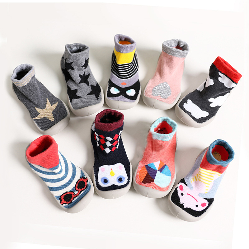Toddler Indoor Floor Shoes Baby Anti Slip Socks Learning To Walk Cotton Baby Socks With Rubber Soles Infant Thick Socks Winter