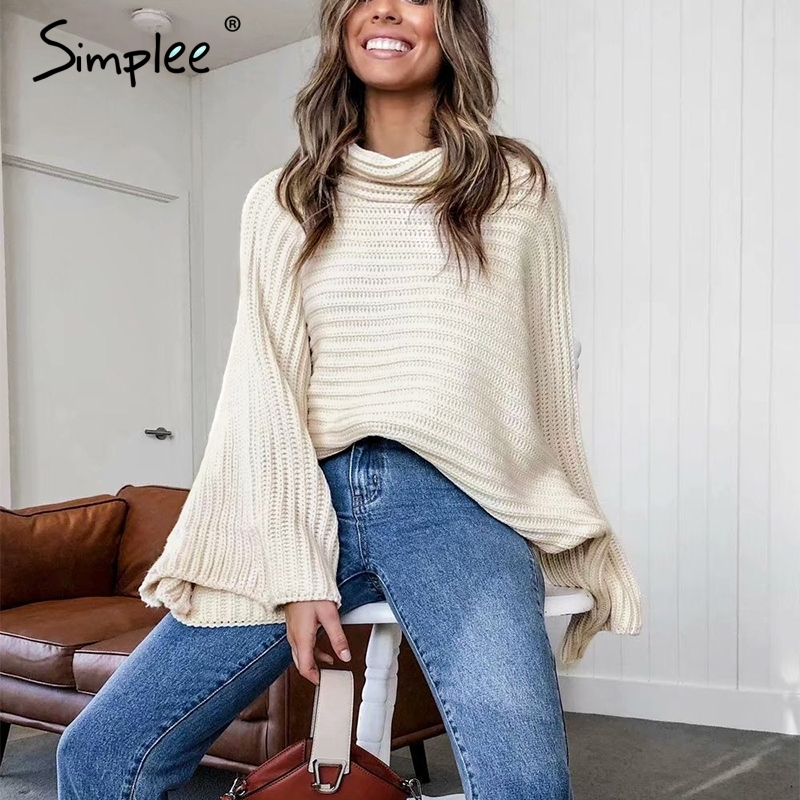 Simplee Casual Turtleneck Knitted Sweater Women Loose Oversize Autumn Winter Female Pullovers Striped Streetwear Ladies Jumpers