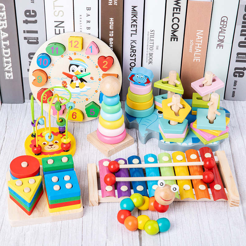 Wooden Blocks Toys Early-Educational-Toys Music Baby Colorful 0-12-Months Cognition Graphic