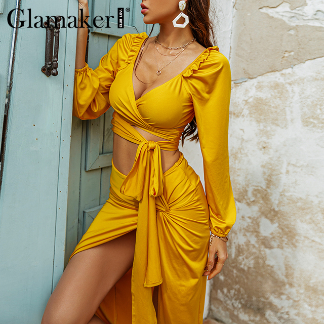 Glamaker Two piece suits Ruffles bandge top and high split sexy skirts Women spring summer yellow sets dress fashion 2021 new 2