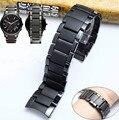 Черный керамический стальной ремешок для часов AR1451 AR1452 для часов Армани АР, фирменный ремешок для наручных часов с изогнутым концом