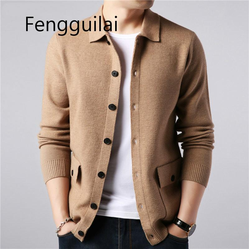 FENGGUILAI Brand Sweater Men Streetwear Fashion Sweater Coat Men Autumn Winter Warm Cashmere Woolen Cardigan Men With Pocket