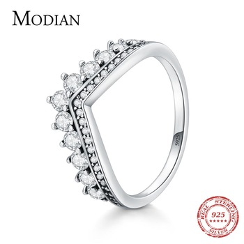 Modian Fashion 100% Real 925 Sterling Zircon Crown Finger Ring Classic Stackable Silver Jewelry For Women Wedding Christmas Gift - discount item  54% OFF Fine Jewelry