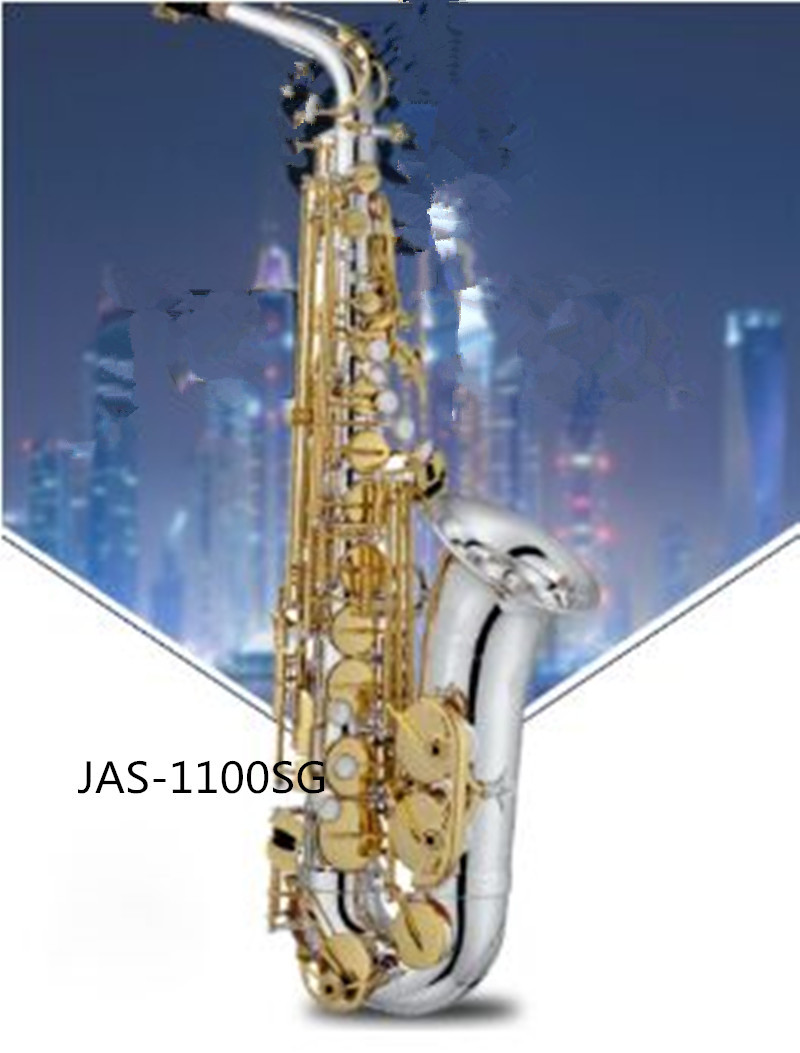 JAS 1100SG Alto Eb Tune Saxophone Brass Nickel Silver Plated Body Gold Lacquer Key Music Instrument E-flat Sax With Case