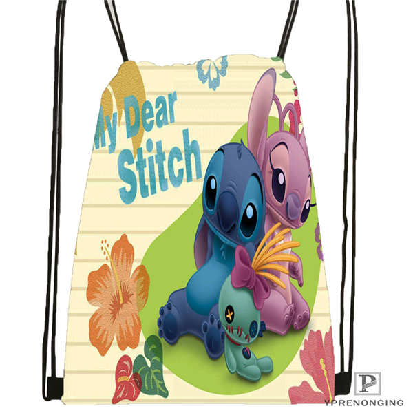Custom Lilo-Stitch-Happy @1Drawstring Backpack Bag Cute Daypack Kids Satchel (Black Back) 31x40cm#180612-02-3