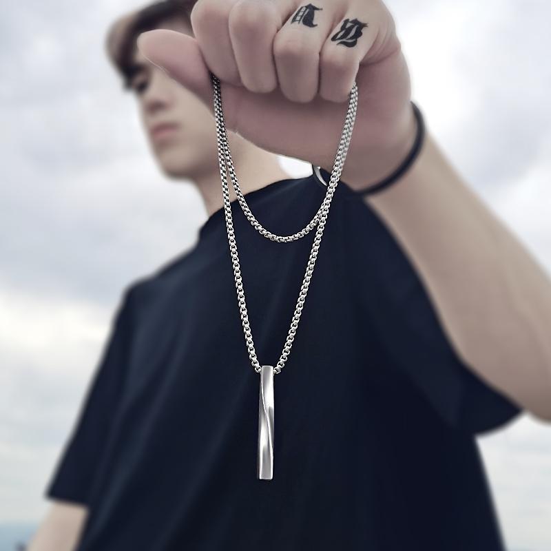 2021 moda nuovo rettangolo nero ciondolo collana uomo Trendy semplice catena in acciaio inossidabile uomini collana regalo gioielli 1