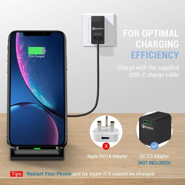 30W Qi Wireless Charger Stand For iPhone 12 11 XS XR X 8 Wireless Fast Charging Dock Station Phone Charger For Samsung S20 S10 2