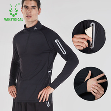 Running Shirt Men Zipper Pullover Madarin Collar Long Sleeve with Pocket Sports Active Wear for Gym Clothing Workout Shirt Male