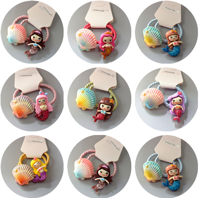2PCS Cartoon Cute Sweet Candy Color Princess Headwear Kids Elastic Hair Bands Children Ropes Girls Accessories Baby Headdress