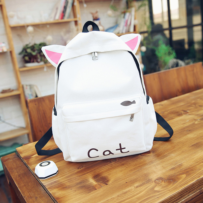 HISUELY Fashion Canvas Backpack Cartoon Rabbit Ears Back Pack Women Casual Students School Bags Student Rucksack Collenge Style